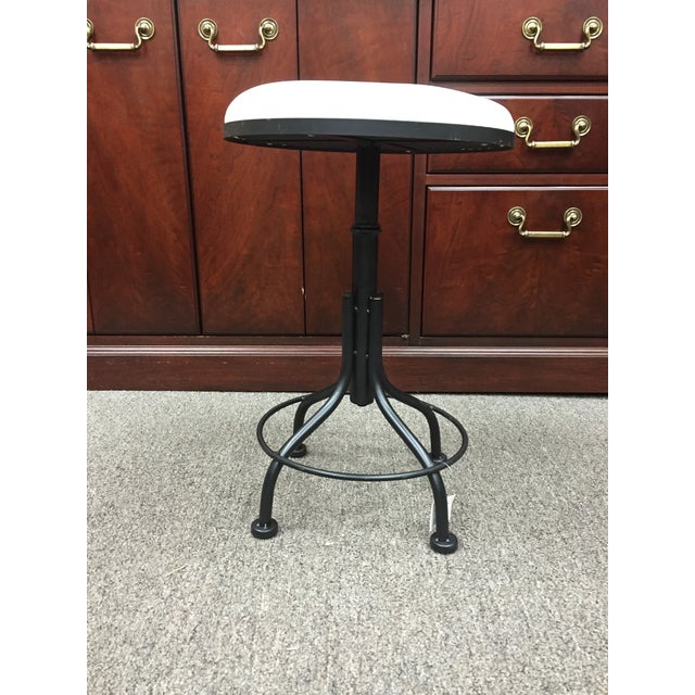 Image of Round Leather Stool with Metal Legs