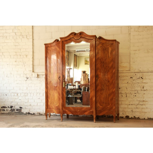 1870's Burled and Inlaid French Knockdown Wardrobe - Image 3 of 11