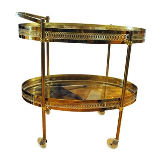 Mid-Century French Brass Bar/Serving Cart