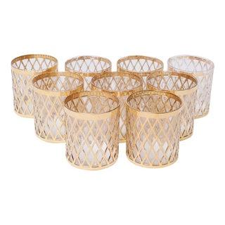 Vintage Gold Lowball Glasses - Set of 9