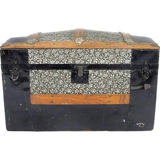 Petit Antique Dome Top Trunk Lined With Wallpaper
