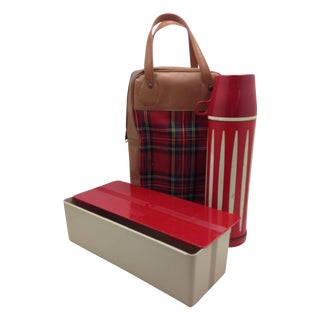 1954 Red Plaid Vintage Thermos Picnic Pack