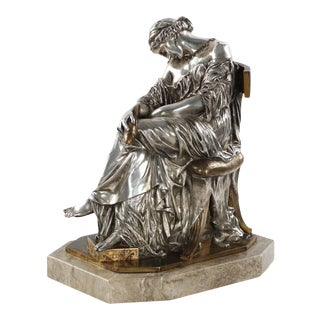"""Pierre Cavelier French Silvered Bronze """"Penelope"""" Sculpture"""