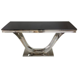 Modern Chrome & Black Glass Console Table