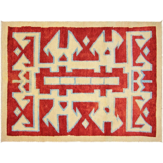 "Turkish Nomadic Long Pile Tulu Rug -- 4'11"" x 6'7"" - Image 1 of 3"