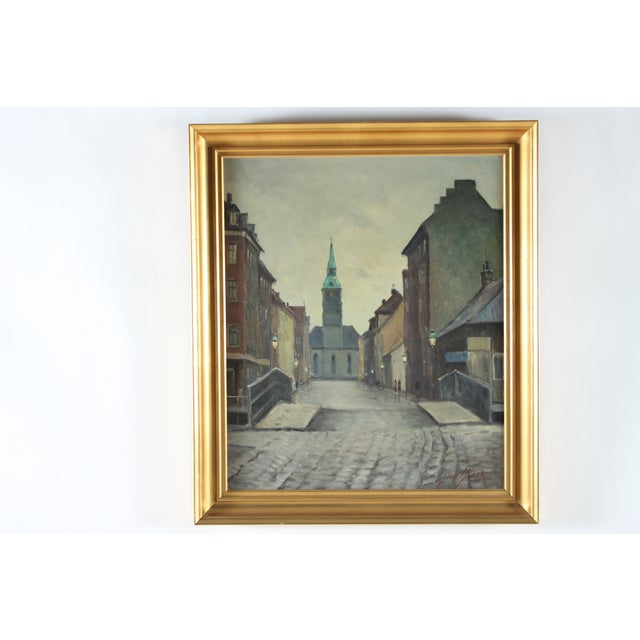 "Image of Vintage Einar Gross ""City Center"" Painting"