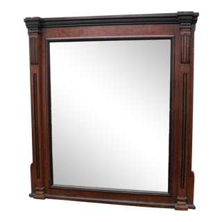 Antique Mansion Size European Oak Library Room Mirror