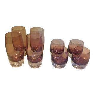 Art Blown Glass Krosno Emethyst Glasses - Set of 8