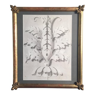 19th Century Fleur De Lis Frame Charcoal Architectural Drawing