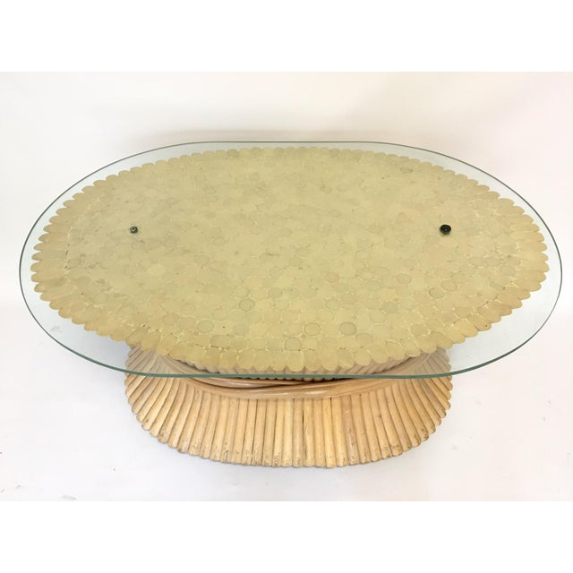 Sheaf of Wheat Rattan Oval Coffee Table - Image 5 of 7
