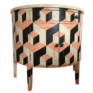 Peach, Black & White Cubism Console