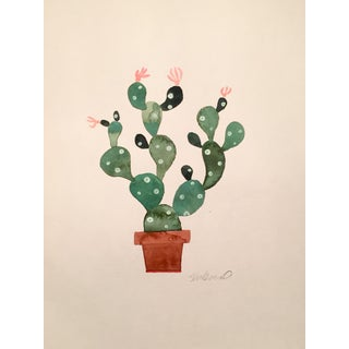 Contemporary Green Cactus Original Watercolor Painting
