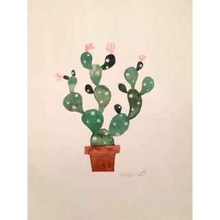 Contemporary Green Cactus Original Watercolor Painting