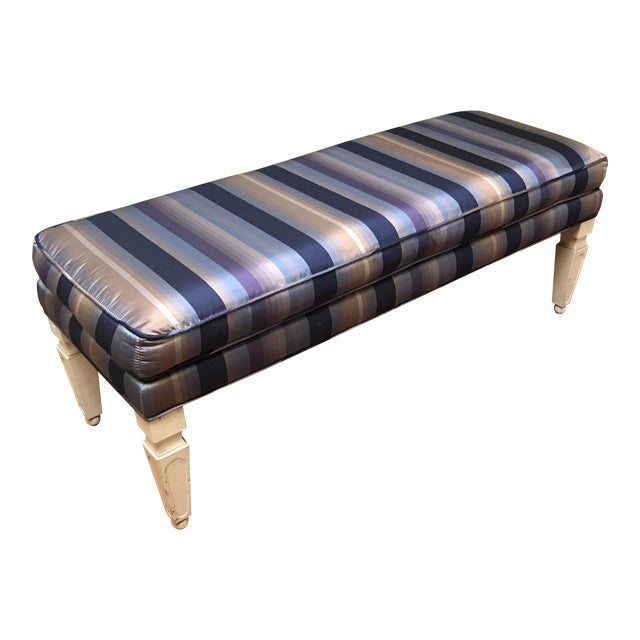 Mid-Century Silk Striped Bench - Image 1 of 6