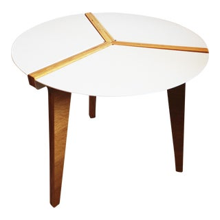 CB2 White Enamel & Bamboo Side Table