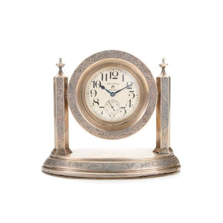 Waltham 8 Days Desk Clock With Sterling Stand