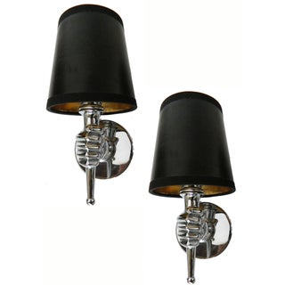 André Arbus French Nickel Plated Sconces - a Pair