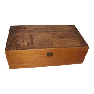 German Pyrography Wood Scenery Box
