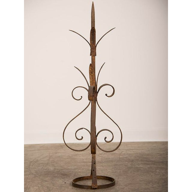 Image of Antique Rustic French Hand-Forged Iron Finial, Normandy, circa 1880