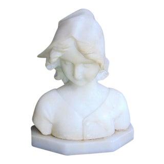 Vintage Marble Girl Bust Sculpture