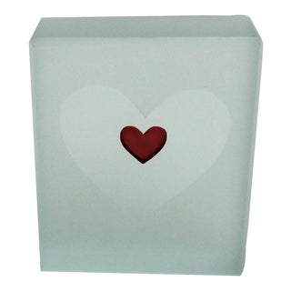 Etched Glass and Red Heart Paper Weight