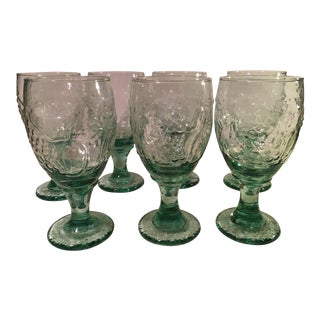 Light Green Water Goblets - Set of 7
