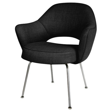 Saarinen Executive Armchairs in Black Woven-Microfiber, Set of Six - Image 1 of 5