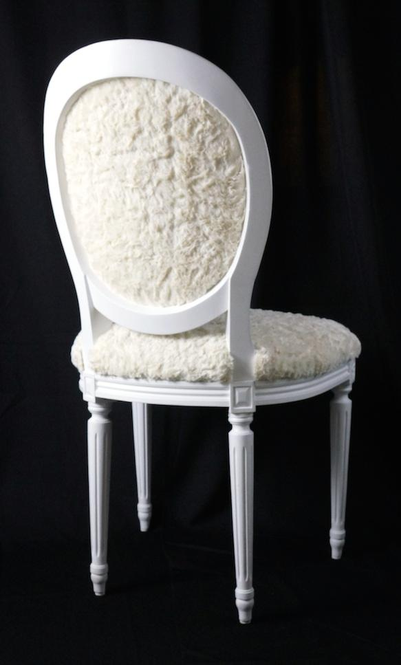 French Louis XVI Side Chair In Faux Fur   Image 2 Of 3