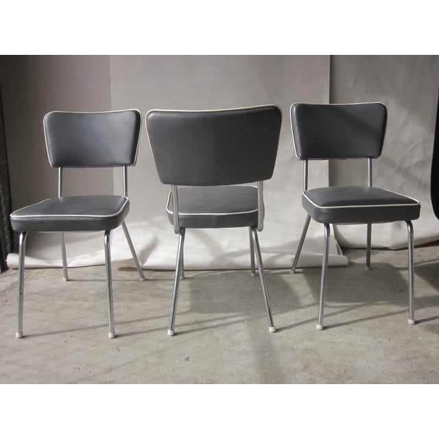vintage gray faux leather dining chairs set of 3 chairish