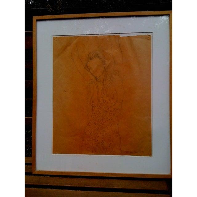 "Tom Wudl ""Stretching Woman"" Original Drawing - Image 2 of 5"