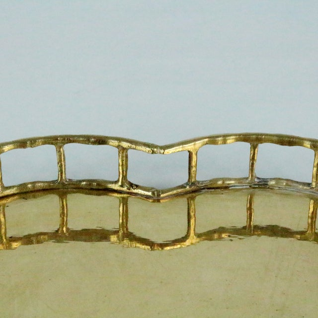 Image of Heart Shaped Faux Bamboo Brass Tray