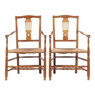 Antique Country Chippendale-Style Chairs - A Pair