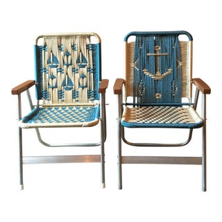 Vintage Nautical Lawn Chairs - A Pair