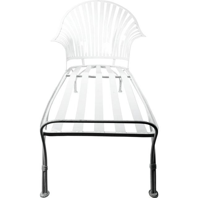 Francois Carre Vintage Fan Back Patio Chaise Lounge - Image 4 of 11