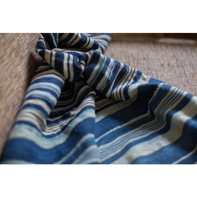 Vintage Hand Woven Indigo Stripe Throw - Image 4 of 7