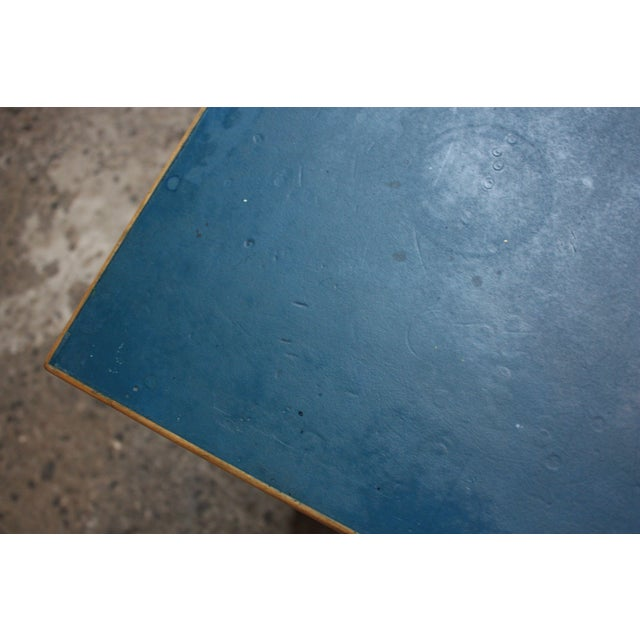 Alvar Aalto Birch Dining or Writing Table with Blue Top and Cabinet - Image 10 of 11