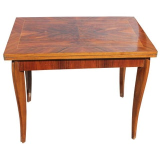 French Art Deco Exotic Walnut Game Table