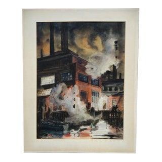 Stuart P. Frost 'Harbor Factory' Watercolor