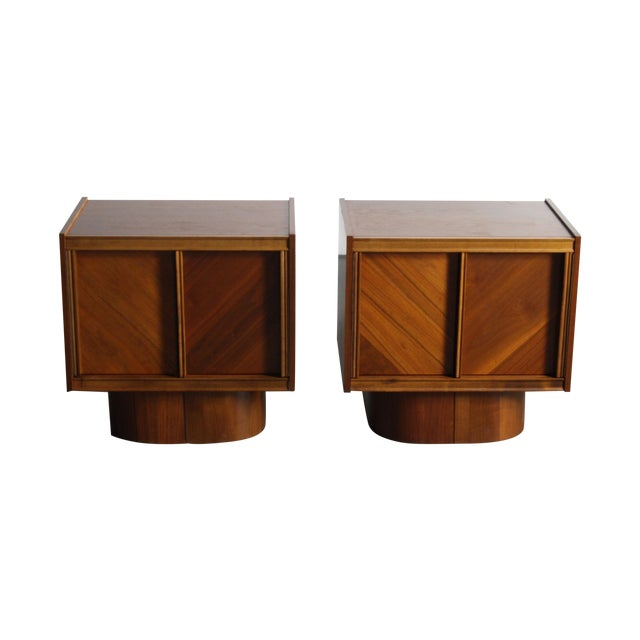 Mid-Century Book-Match Walnut End Tables - A Pair - Image 1 of 10