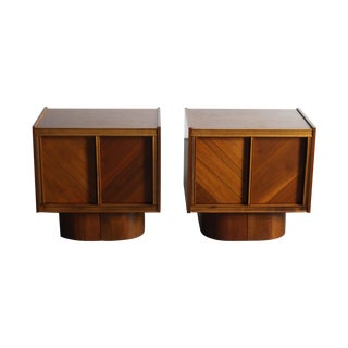 Mid-Century Book-Match Walnut End Tables - A Pair