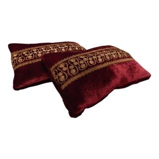 Burgundy & Gold Lumbar Pillows - A Pair