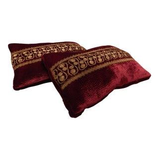 Burgundy & Gold Lumbar Pillows - A Pair