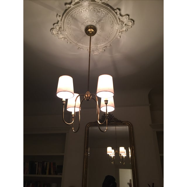 Classic 4-Arm Brass Chandelier With Light Shades - Image 3 of 3