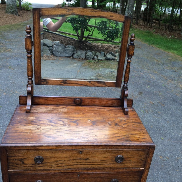 Image of Vintage Wooden Dresser & Swing Mirror