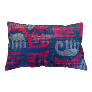 Red & Blue Velvet Ikat Pillow