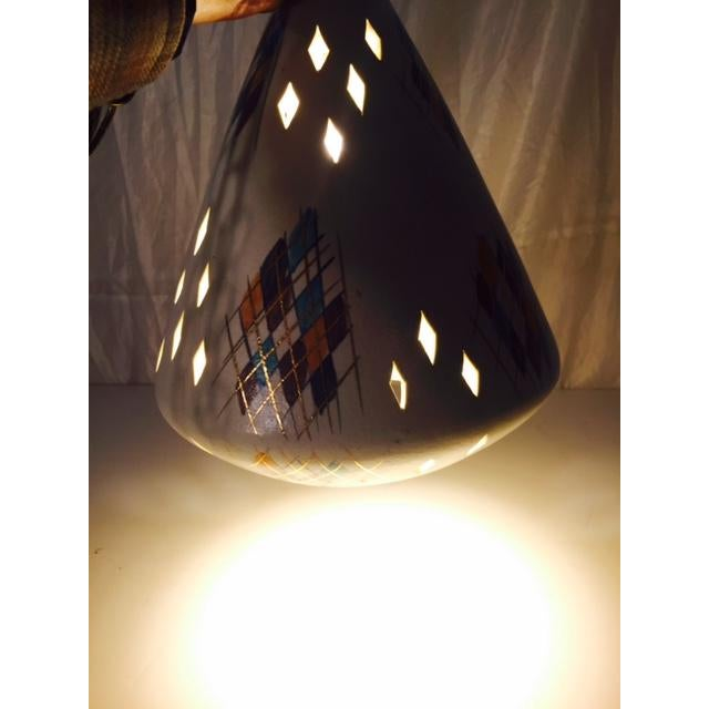 Image of Mid-Century Modern Ceramic & Wood Swag Light