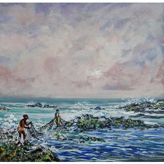 Simon Michael Net Fishing Acrylic Painting