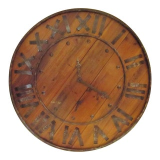 Round Wooden Wall Clock With Roman Numerals