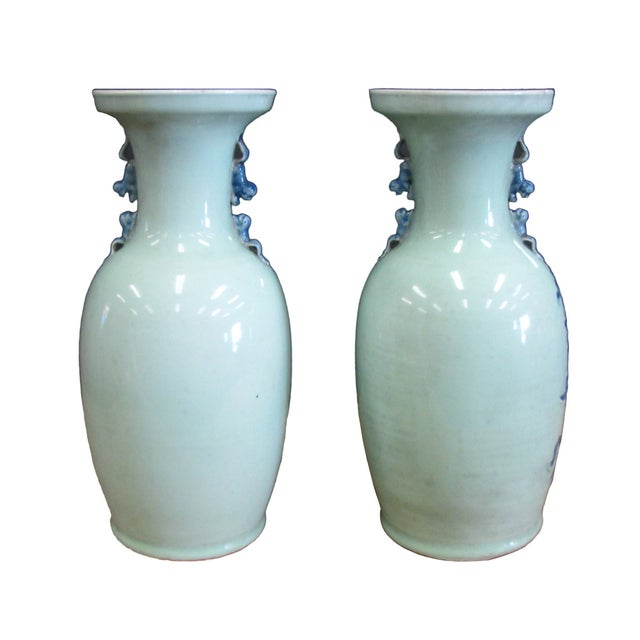 Chinese Porcelain Blue Graphic Vases - A Pair - Image 4 of 5