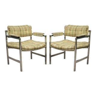 Vintage Baughman Probber Mid-Century Modern Chrome Floating Arm Lounge Chairs - a Pair
